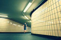 Alone in underground passage Stock Image
