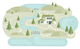 Alone Villa In Landscape. Illustration of landscape with house near river between hills and pine trees. Big country house, abstract trees and bridges. Cute Royalty Free Stock Photography