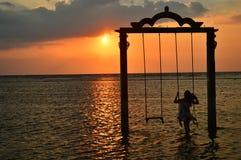 Alone. Waiting sunset in gili trawangan Royalty Free Stock Images