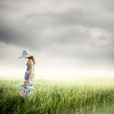 Alone Woman with raincloud Stock Photos