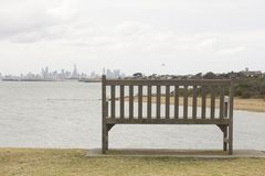 Alone Wood Bench and view to the Sea Landscape Australia Melbourne nice. Alone Wood Bench and view to the Sea Landscape Australia Melbourne stock image
