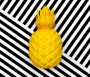 Alone yellow abstract pineapple isolated on a background with a black and white stripe. Tropical exotic fruit. 3D rendering. Alone yellow abstract pineapple vector illustration