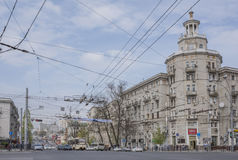Along the avenue Budennovsky moving cars and pedestrians Stock Images