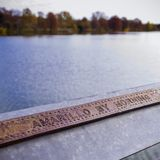 Engraved Railing on Lady Bird Lake During Fall stock photography