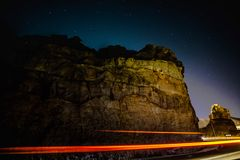 Along the Cliffs. Traffic along the cliffs in the canary Islands Royalty Free Stock Photos