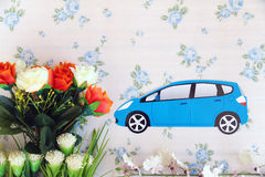 Along the flower field. Moving car along a colourful flower field Stock Photo