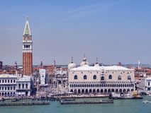 Along the grand Canal Venice. Scenic view of the buildings and boats along the grand canal in Venice Italy Royalty Free Stock Image