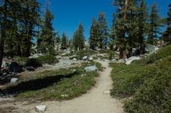 Hiking In Desolation Wilderness Near Lake Tahoe. Along a hiking trail in Desolation Wilderness near Lake Tahoe, California stock photo