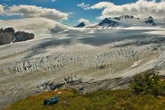 Along the hiking trail beside Exit Glacier in Kenai peninsula, Alaska. Kenai fjords adventure, trekking Alaska, huge icefield royalty free stock image