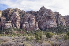 White Rock, Willow Springs, Red Rock Conservation Area, Nevada, USA. Along the hiking trails on the White Rock Loop in Willow Springs, Red Rock Conservation Area stock photography