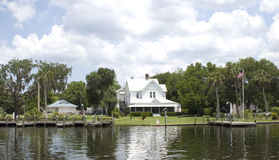 Along the Homosassa River. Scene of a 1912 Home on the banks of the Homosassa River, Homosassa Florida Royalty Free Stock Images