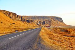 Along Icelandic road with big mountains Stock Photo