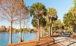 Along Lake Eola at dusk, Orlando royalty free stock images