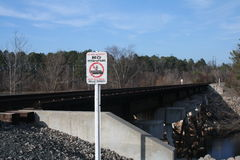 Along the Norfolk Southern. People are offended by no trespassing signs Stock Photos