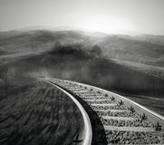 Along the railroad track. Beautiful landscape of countryside with an  binary in black and white Royalty Free Stock Image