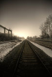 Along Rails. I took a walk at the industrial zone Stock Image