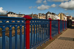 Along the river. On the banks of the river in Belfort, east of France, by a sunny day Stock Photos