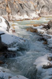 Along the river. The Dudh Kosi river flowing from mount Everest Royalty Free Stock Photography