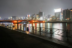 Along the riverside in Sumuda at night Royalty Free Stock Images