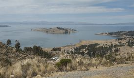 Along the road from San Pedro de Tiquina to Copacabana on the Titicaca lake, the largest highaltitude lake in the world 3808m stock photos