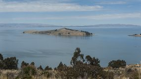Along the road from San Pedro de Tiquina to Copacabana on the Titicaca lake, the largest highaltitude lake in the world 3808m royalty free stock photos