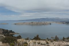 Along the road from San Pedro de Tiquina to Copacabana on the Titicaca lake, the largest highaltitude lake in the world 3808m stock photography