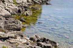 Along the rocky coast of Georgian Bay. Rocky coastline in the Bruce Peninsula, on Georgian Bay, Ontario Stock Photos