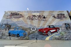 Along route 66, wall painted with graffiti stock photos
