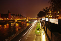 Along the Seine river at night Royalty Free Stock Photography