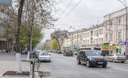 Along the street Bolshaya Sadovaya moving cars and pedestrians Stock Photography