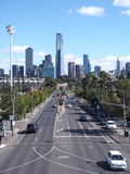 Along Swan Street to the west with Eureka Tower, arts center and Southbank Royalty Free Stock Image