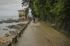 El Nido Town Coastal Road Rider. stock photo