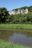Along the velo on the canal du nivernais, rocks and cliffs, clamecy. Landscape with rock climbing, surgy near clamecy  on the canal du nivernais cycling track or Royalty Free Stock Photos