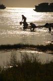 Alongside Yangzi River. Some women washing clothes royalty free stock photography