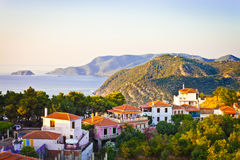 Alonissos. Old Village of Alonissos, Greece, in the later afternoon sun Royalty Free Stock Photo