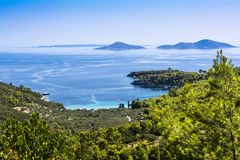 Alonissos Bay. Bird's eye view of a bay in Alonissos Royalty Free Stock Image