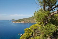 Alonissos coastline, Greece. Looking along the coastline from Agii Anargiroi on the Greek island of Alonissos royalty free stock images