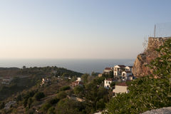 Alonissos at dusk, view of castle - Sporades. View from Chora of Alonissos village - Sporades Islands - Thessalias, Greece Royalty Free Stock Photography