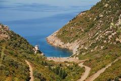 Alonissos island, Greece. Looking down onto Gialia beach on the Greek island of Alonissos stock photos