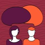 被说明的图和人有圆的五颜六色的两讲话的Alonside妇女的空白的面孔起泡重叠 头发和 向量例证