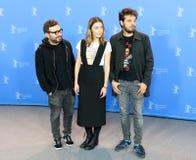 Alonso Ruizpalacios, Ilse Salas en Leonardo Ortizgris stock afbeeldingen