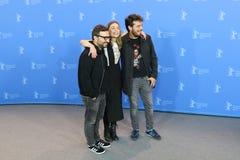 Alonso Ruizpalacios, Ilse Salas en Leonardo Ortizgris tijdens Berlinale 2018 stock afbeelding