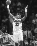 Alonzo Mourning. Charlotte Hornets center Alonzo Mourning, #33. (Image taken from B&W negative Royalty Free Stock Photo