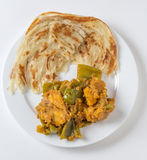 Aloo capsicum curry and paratha high angle Royalty Free Stock Image