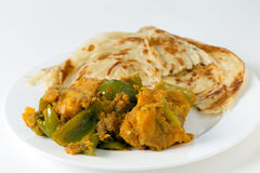 Aloo capsicum curry and paratha side view stock photo