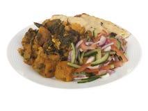 Aloo Gobi Saag Meal with Salad Stock Photos