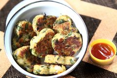 Aloo Methi Tikki, Fenugreek leaves potatoes Cutlets royalty free stock photo