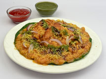 Aloo tikki chaat Indian street food served with chole