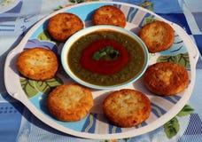Aloo Tikki o Fried Potato Patties Fotografia Stock