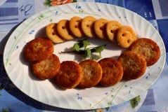 Aloo Tikki oder Fried Potato Patties Stockbild
